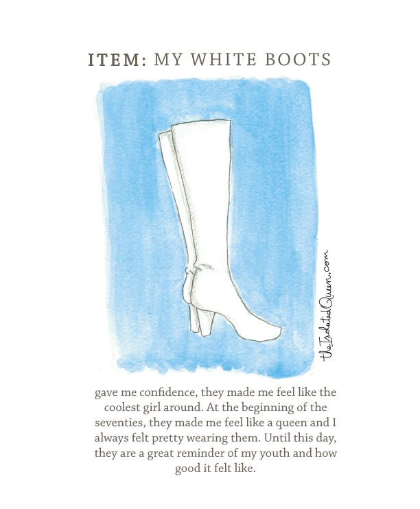 On today's How Fashion Marked my Life, a story about white boots in the seventies! Read more at http://theisolatedqueen.com/?p=296  Send us your story at theisolatedqueen@gmail.com and we will draw it for you!  Oh! an remember to like us on Facebook: https://www.facebook.com/theisolatedqueen