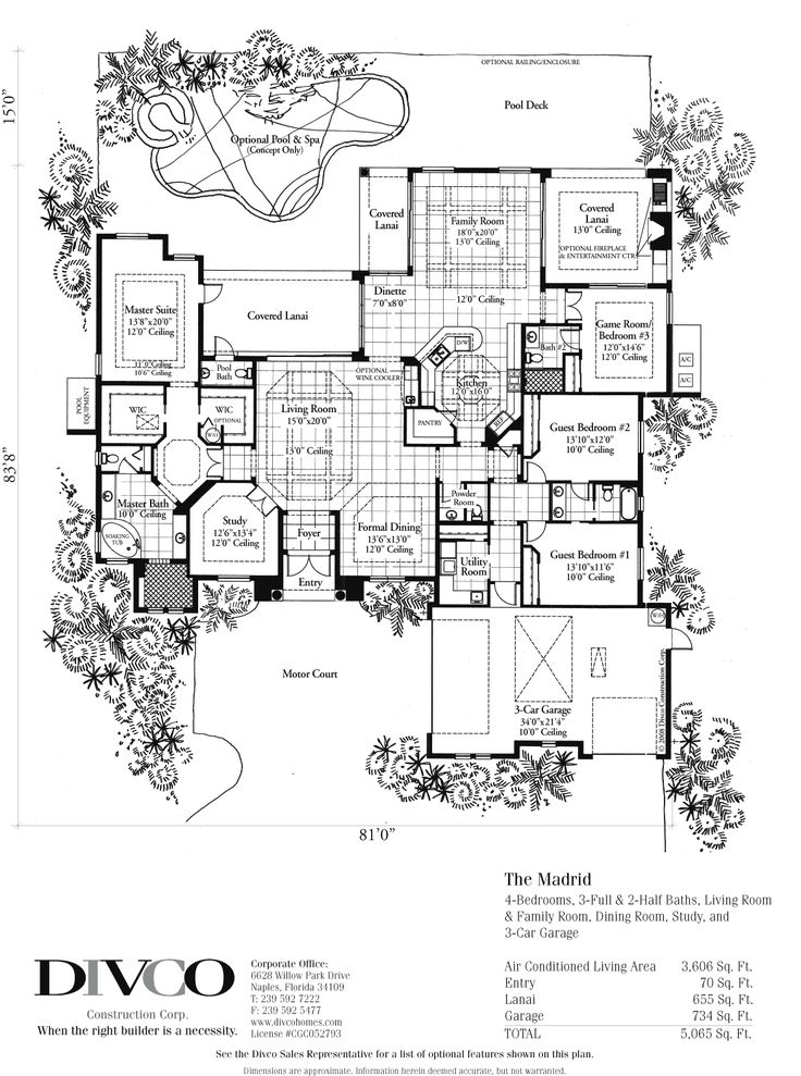 luxury home floor plans madrid floorplan - Modern Luxury Home Plans