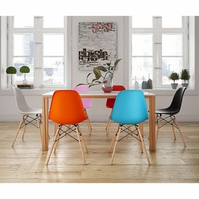 Molded Plastic Side Chair with Wood Legs - Click to enlarge