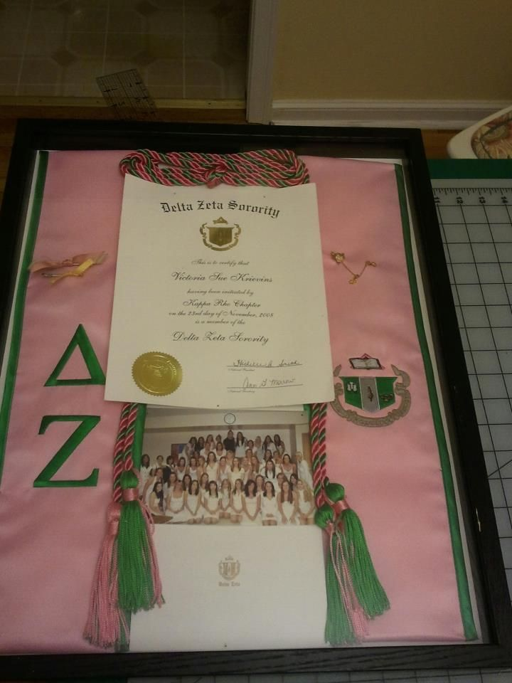 Bid card, initiation card, pledge class photo/sorority photo, graduation stole... Such a good idea. Probably going to use some of this idea