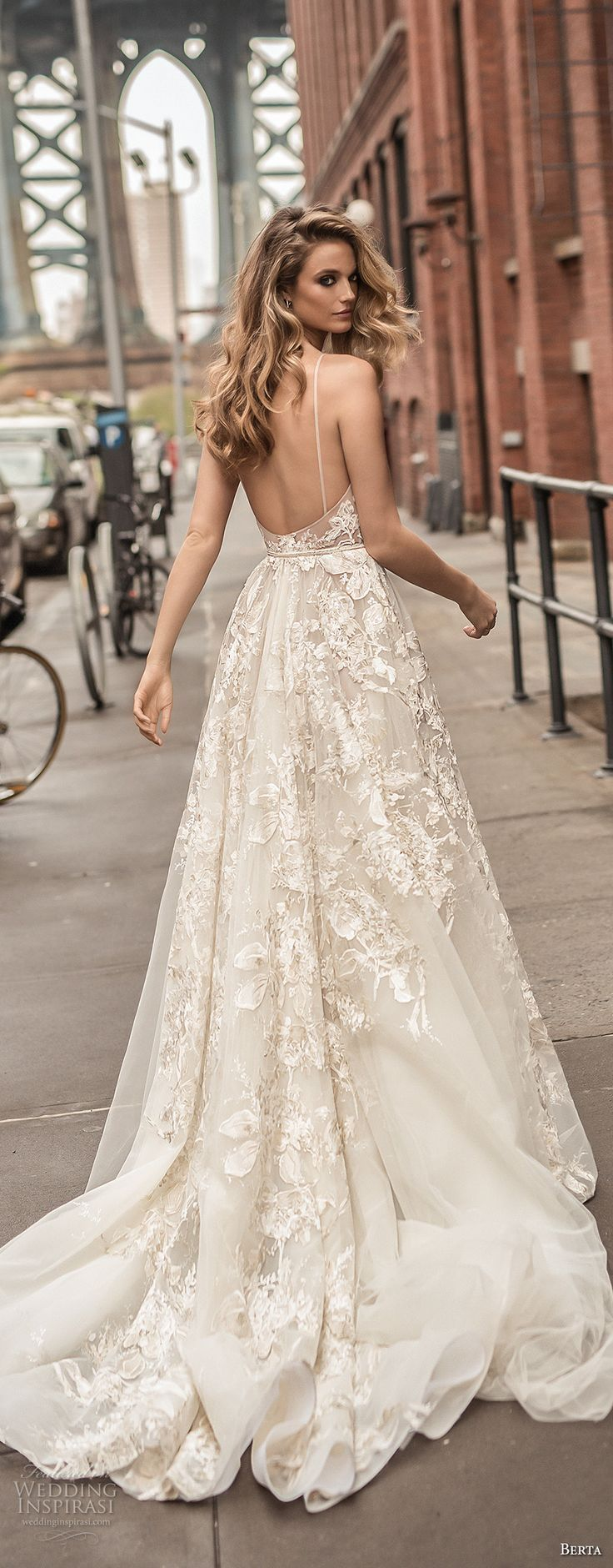 berta spring 2018 bridal spaghetti strap deep plunging v neck full embellishment sexy romantic a line wedding dress open back chapel train