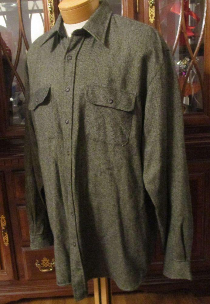 Vtg Arrow XL Tall Men Herringbone Shirt Jacket Black Tan Buttoned Front Long SLV #Arrow #ButtonFront