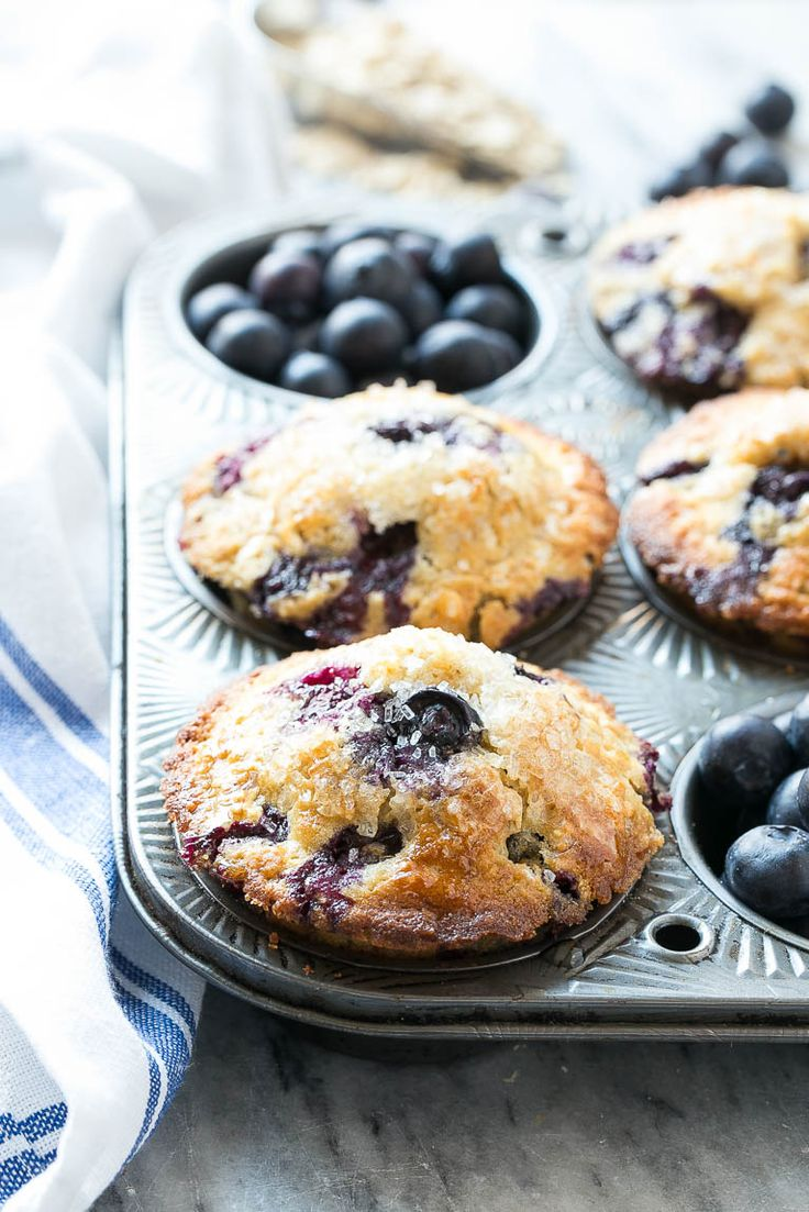 Healthier blueberry oatmeal muffins...,may tweak a few things to take out white flour and sugars like coconut sugar and all wheat flour