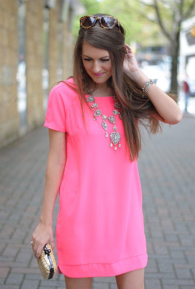 Neon pink shirt dress