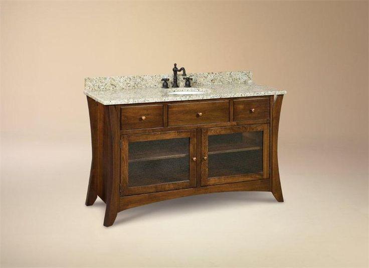 Make Photo Gallery Amish Hesston Shaker Single Bathroom Vanity Cabinet