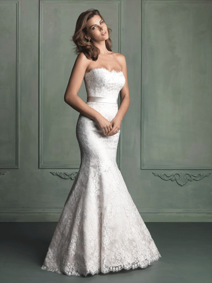 Wedding Gown I Wedding Dress I Allure Bridals (9117) I A thick satin sash adds dramatic sophistication to this strapless satin gown with an all-over lace overlay.