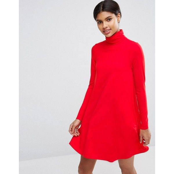 ASOS Swing Dress with Polo Neck & Long Sleeves (£24) ❤ liked on Polyvore featuring dresses, red, turtleneck tops, long sleeve turtleneck dress, red turtleneck, long sleeve turtleneck and long sleeve swing dress