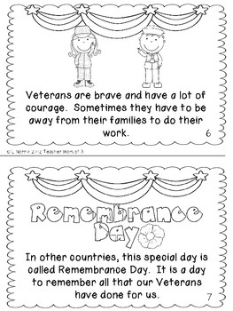 Veterans Day Printable Book For Guided Reading Shared Reading Tpt