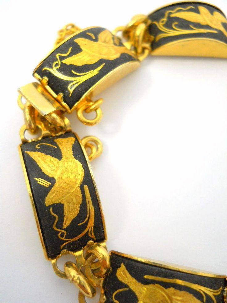 Damascene Bracelet 7 Linked Pieces Birds Flowers Black Gold Enamel Vintage