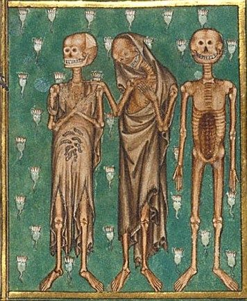 Detail of a miniature of the Three Dead from the the 'De Lisle Psalter', England (London?), c. 1308-c. 1340, Arundel MS 83, f. 127r