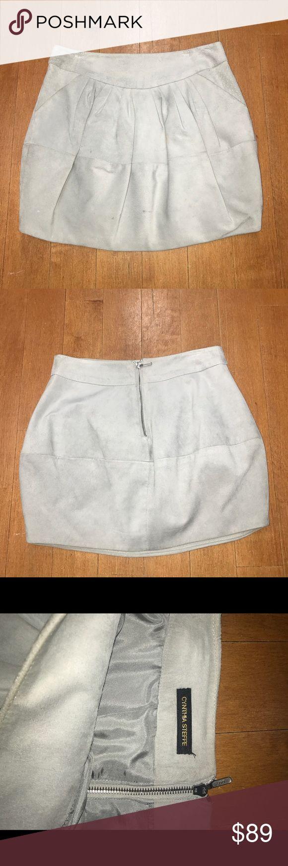 Cynthia Steffe suede balloon skirt. Cynthia Steffe light grey suede balloon mini skirt Cynthia Steffe Skirts Mini
