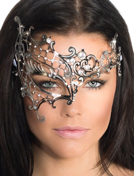 Over Eye Silver Metal Masquerade Mask | Deluxe Women's Silver Masquerade Mask - Halloween Costumes | fancy dress costumes Australia | wigs, ...