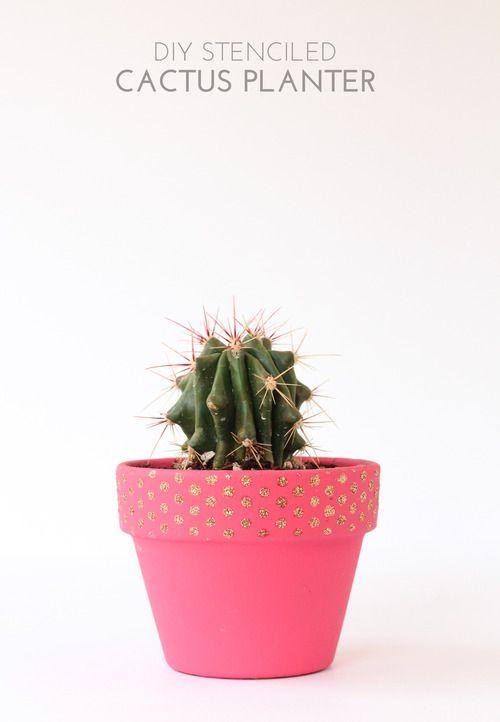stenciled pot