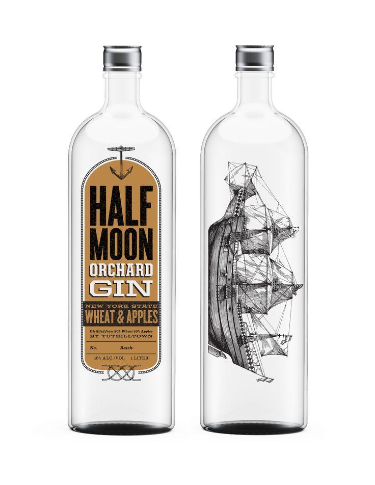 Half Moon Orchard Gin   #packaging #bottledesign #gin