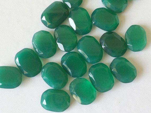 Green Chalcedony Table Cut Flat Back Green by gemsforjewels