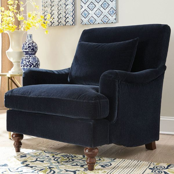 Features:  -Plush seating.  -Sleek design.  Upholstered: -Yes.  Upholstery Color: -Midnight blue.  Chair Design: -Arm chair.  Upholstery Material: -Polyester.  Frame Material: -Wood. Dimensions:  Over
