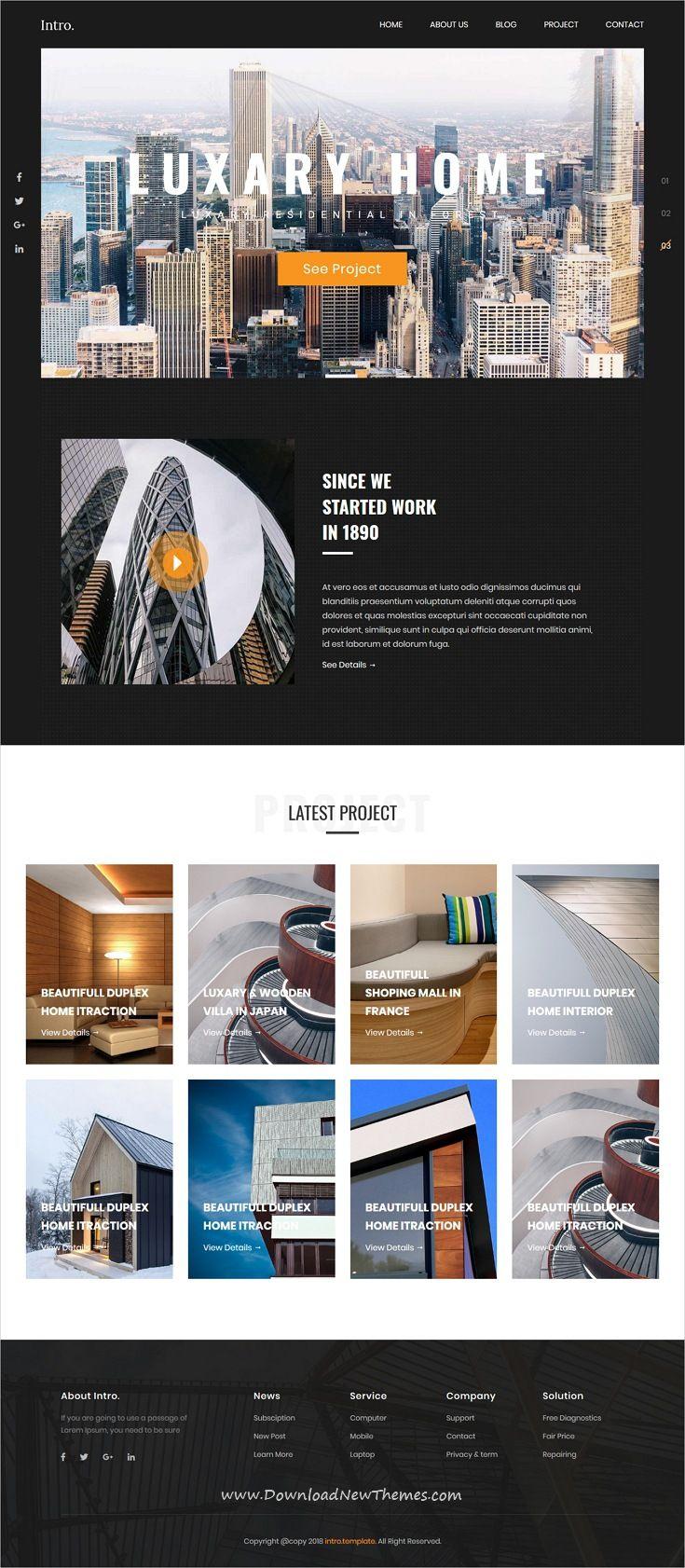Intro Architecture Interior Html5 Template Great Website Design