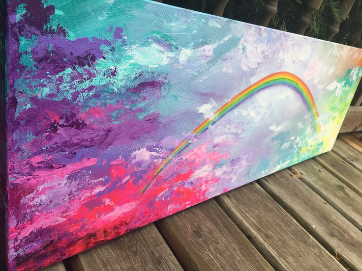 A personal favorite from my Etsy shop https://www.etsy.com/ca/listing/554602734/rainbow-bright-acrylic-painting