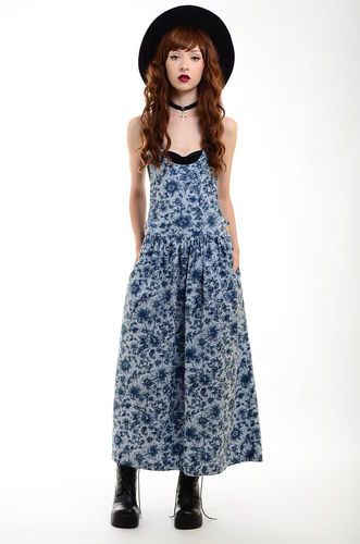 Vtg 90s Grunge Floral Schoolgirl Pinafore Deep Armholes Festival Jumper Dress S | eBay