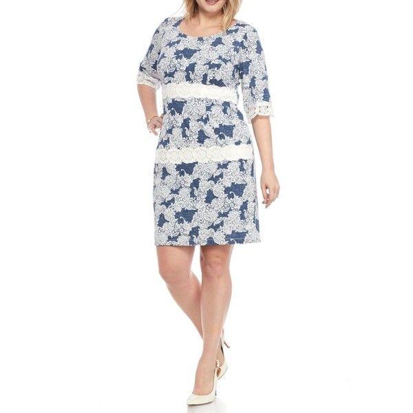 Chris Mclaughlin Blue Plus Size Faux Denim Lace Inset Dress - Women's (91 CAD) ❤ liked on Polyvore featuring plus size women's fashion, plus size clothing, plus size dresses, blue, plus size denim dress, white denim dress, white dress and denim dress