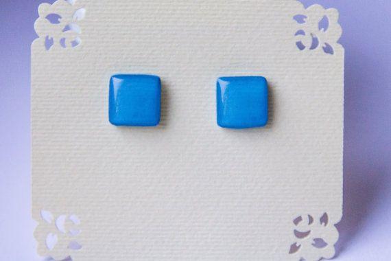 Blue studs blue post earrings glossy blue studs от JewelryBest