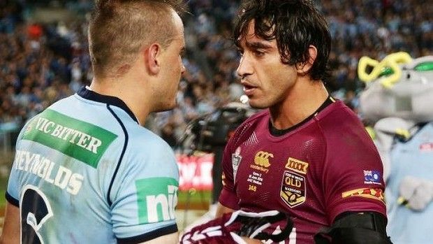 Josh Reynolds and Johnathan Thurston shake hands after their spiteful Origin clash. Photo: Getty Images  Read more: http://www.smh.com.au/rugby-league/state-of-origin/johnathan-thurston-and-queensland-lose-their-heads-on-state-of-origin-spite-night-20140618-zsdy3.html#ixzz351XqhgJ1