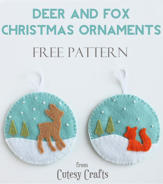 Deer and Fox Christmas Ornaments tutorial from Cutesy Crafts