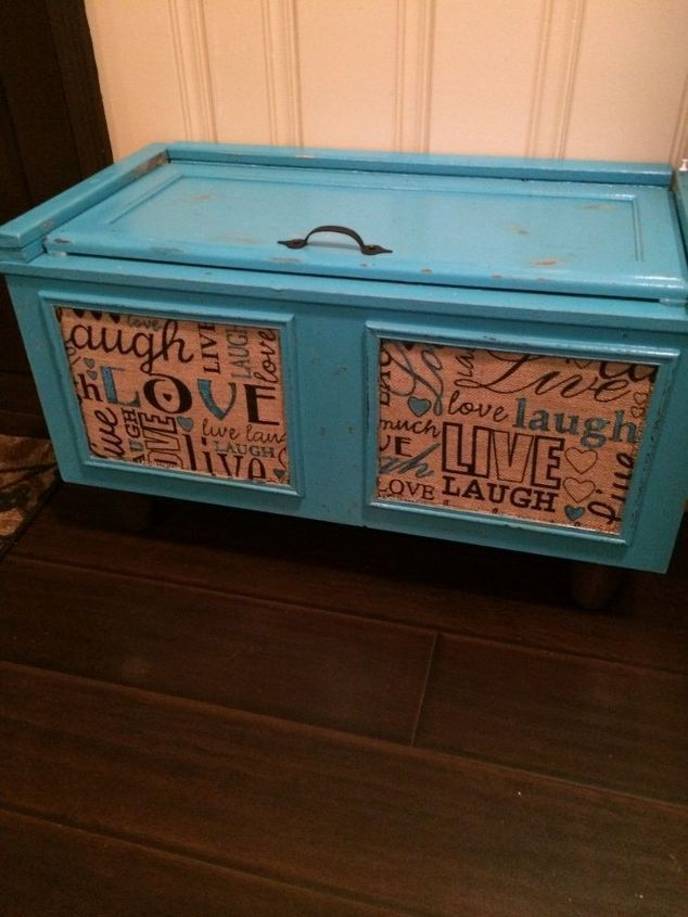 Painted Foyer Cabinets : She places a kitchen wall cabinet by her front door the