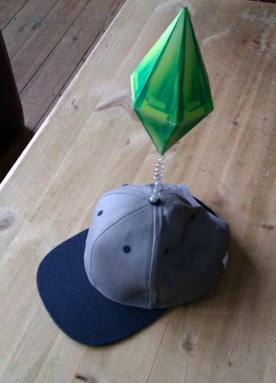 DIY Plumbob (the Sims) costume  http://imageshack.us/a/img528/1818/plumbobgreen.png