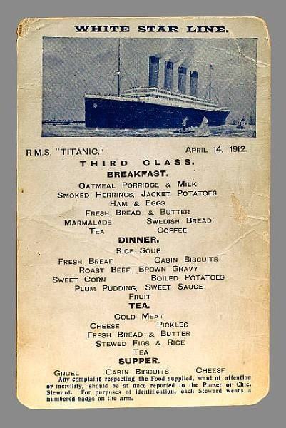 Third Class Dinner And Breakfast Menu Titanic