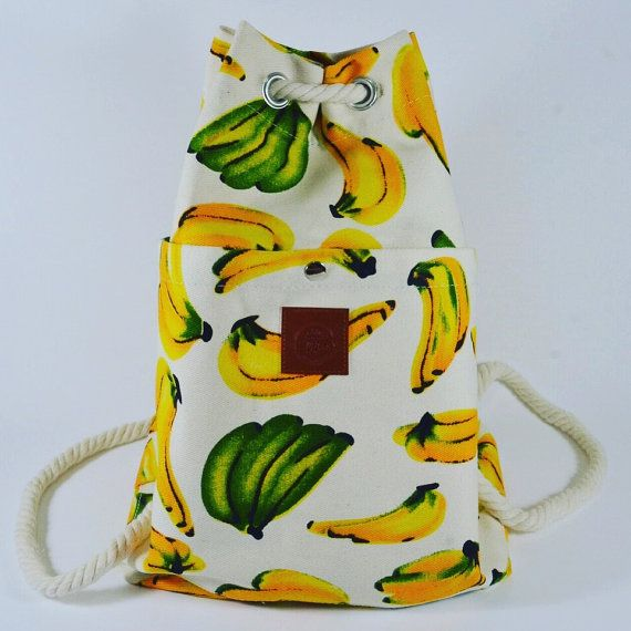 Banana motif drawstring bucket backpack