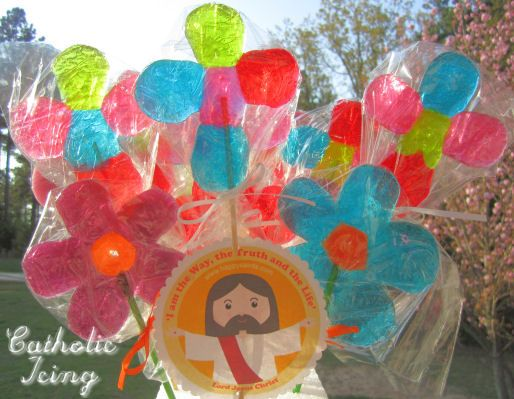 Cross and Flower Pops make from Jolly Ranchers and Life Savers candies!