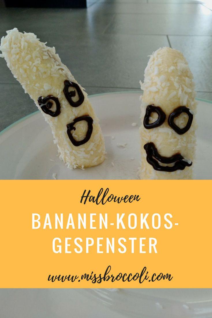 Kokos Bananen Gespenster für Halloween. Basteln mit Kindern für einen coolen #Halloween Snack, ganz einfach, schnell und schon für kleine #Kinder ab 2 möglich. #halloweenparty