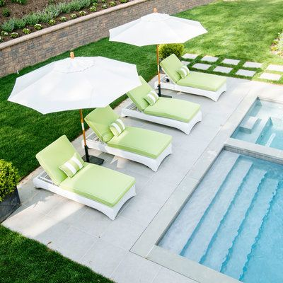 This perch by the gunite pool at our 2016 Hamptons Showhouse is a vision in soft lime and white.