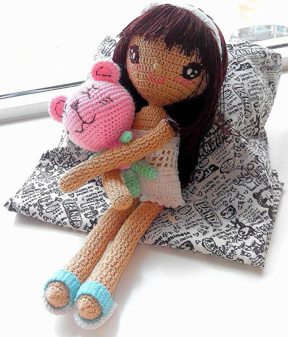 Just a girl & her bear handmade crochet dolls by TheGreenHouse222