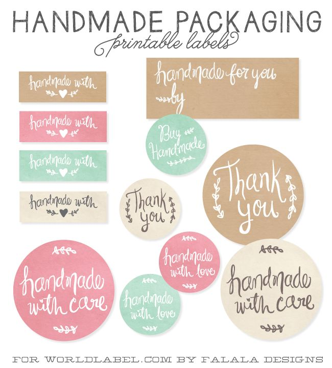 Handmade packaging labels free downloads handmade by thank you etc.- printattavat etiketit tagit