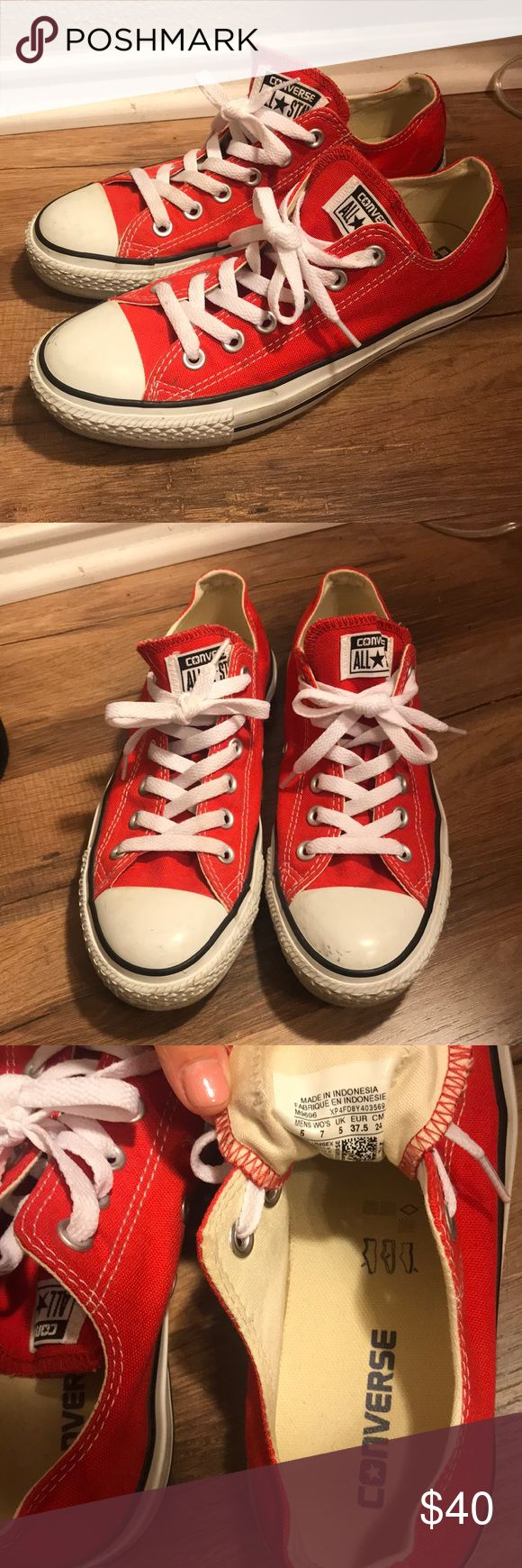 Women's Red Converse Women's size 7, Men's size 5.  Good condition, only worn a few times! Converse Shoes Sneakers