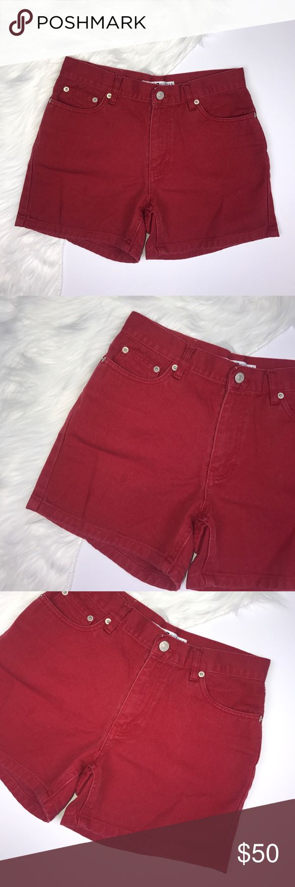 """Tommy Hilfiger Vintage Jean Red Mom Shorts. Super cute and stylish Tommy Hilfiger mom shorts. Dress these up or down. They're in great pre-owned condition, some light fading throughout. 5 pockets. Zip-fly w/ button closure. Logo on the back right pocket. Waist: 13.5"""" (laying flat). Length: 13"""". Rise: 9.25"""". Tommy Hilfiger Shorts Jean Shorts"""