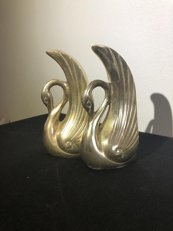 Art Deco Brass Swan Bookends Vintage Brass Bookends Antique Swan