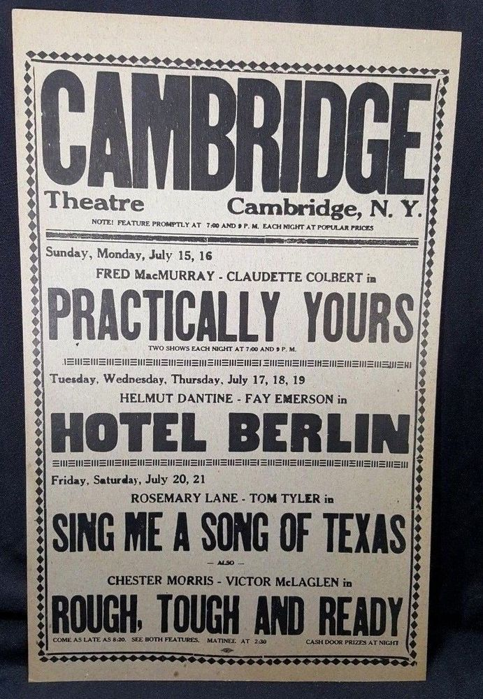 0b9a0a667ad Cambridge Theatre 1945 Lobby Card Movie Bill Listing Calendar Advertising   theater  oldhollywood  movies