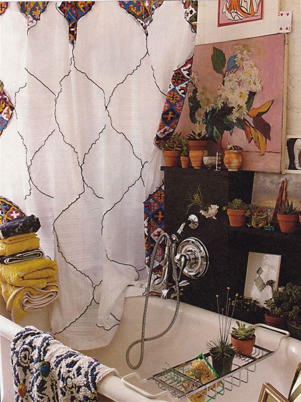 renkli bohem tarz kumaşlı banyo ev modası bohem dekorasyon modeli örneği - Kadın Moda