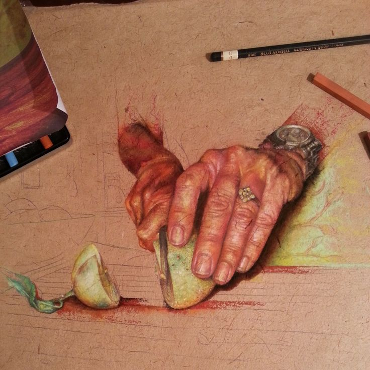 Hands drawn in chalk pastel. I was inspired by the colours of fruit and raw meat.