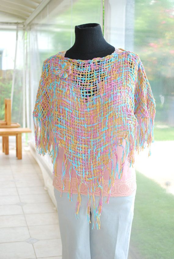 Free Shipping, Hand Woven shawl / Summer  Shawl hand knit shawl / capelet shrug tank with cute flower / women / teenagers