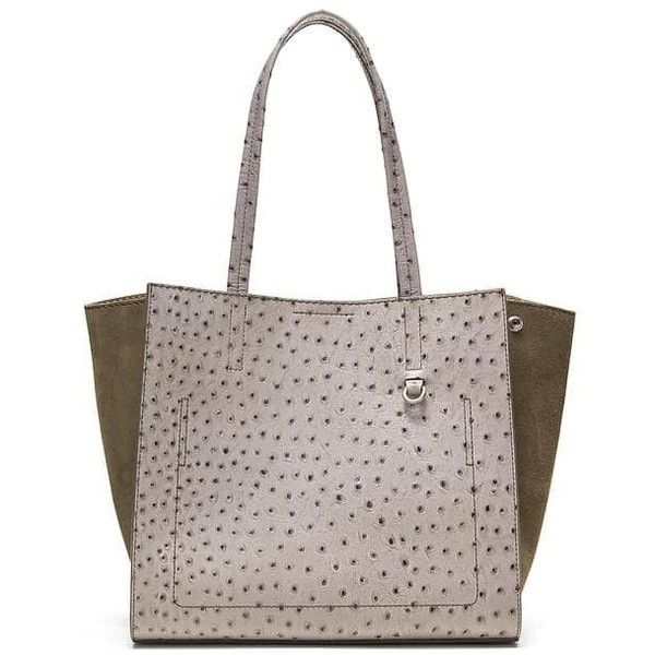 Banana Republic Italian Leather Mixed Media Tote ($188) ❤ liked on Polyvore featuring bags, handbags, tote bags, gray texture, leather tote bags, tote handbags, leather purses, leather tote handbags and laptop tote bag