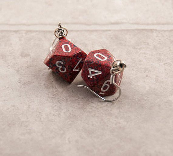 Red Speckled D10 Dice Earrings Tabletop Gaming by TheDiceofLife