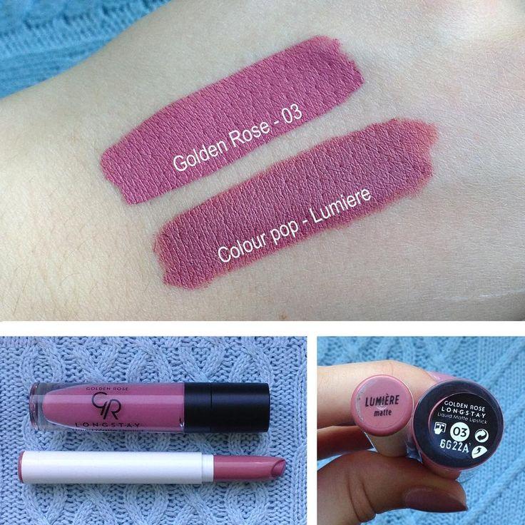 @marusionna • Instagram Golden Rose - longstay liquid matte lipstick in 03 & Colour pop in shade Lumiere swatch