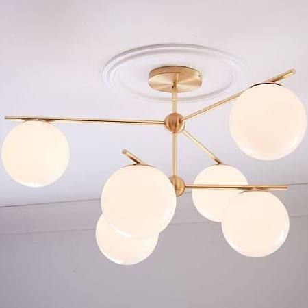Sphere stem convertible chandelier brass milk glass 6 light at west