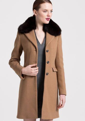 Palton dama iarna cu blana elegant