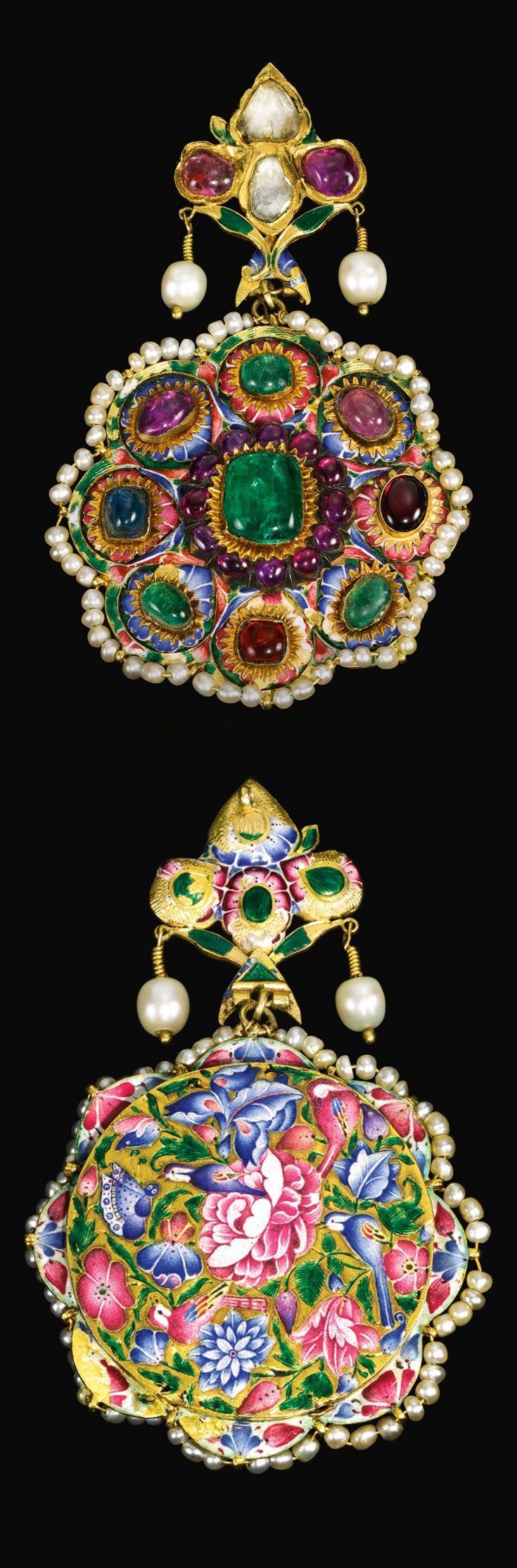 Persia   Large Qajar pendant; gemset gold and polychrome enamel   ca. 19th century   Est. 4'000 - 6'000£ ~ Oct '15