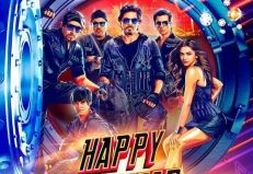 First poster of upcoming bollywood movie Happy New Year, starring Shahrukh Khan and Deepika Padukone.